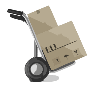 אילוסטרציה של עגלה עמוסה בארגזים במהלך העברת דירה